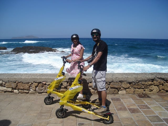 Exploring Chania Old Town on a Trikke