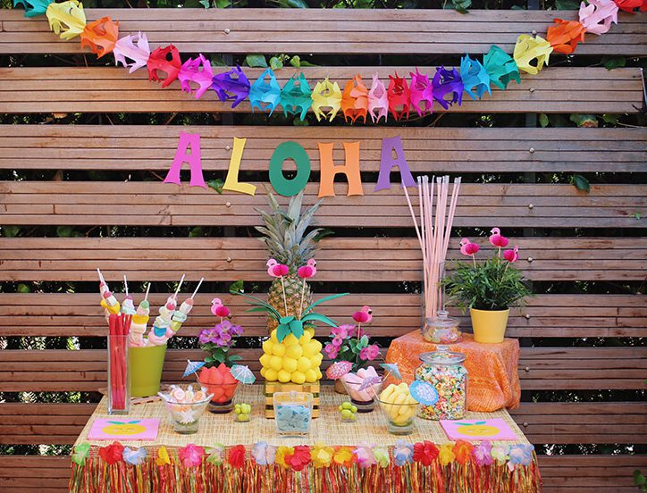 Candybar para fiesta temática hawaiana