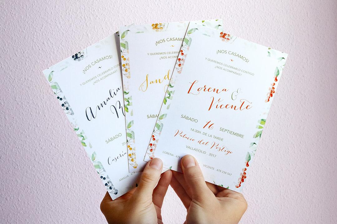 Invitaciones de boda primavera multicolor