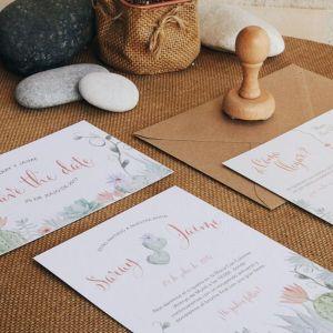 Papelería de boda para invitación de boda cactus