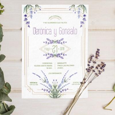 Invitación de boda lavanda y eucalipto