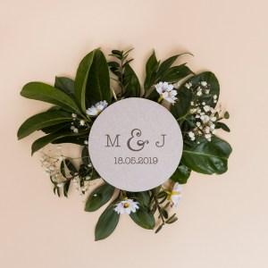 sello de boda personalizado iniciales