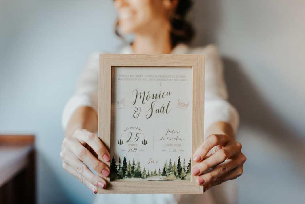 Invitación de boda campestre pinos