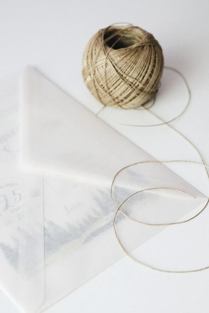 Sobre vegetal semi transparente