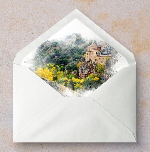 Sobres forrados con ilustración personalizada San Saturio