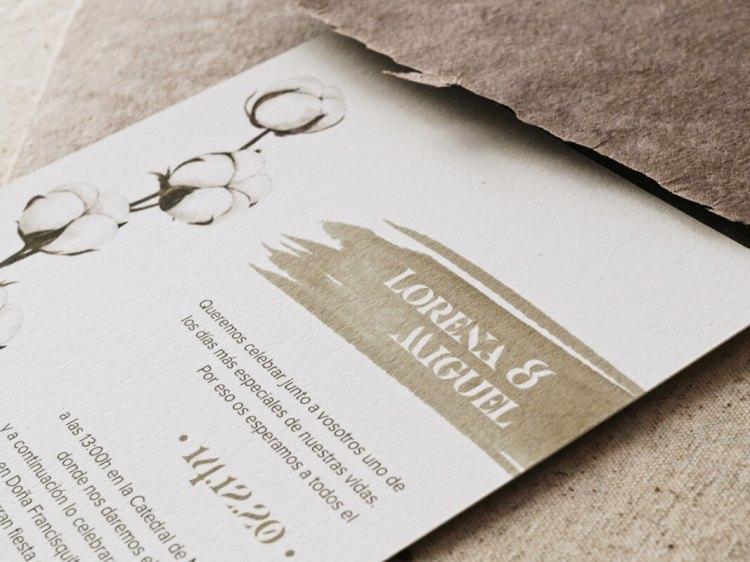 Invitaciones de boda de invierno algodón