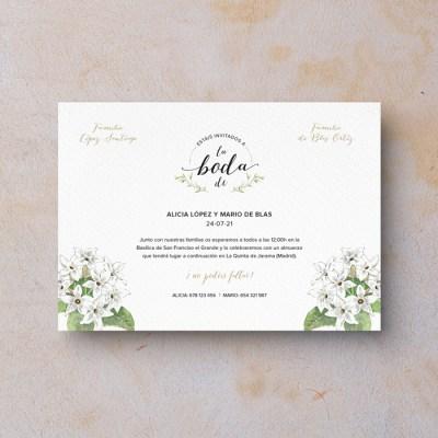 Invitación de boda clásica Jazmín