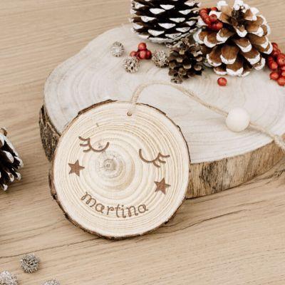 Rodaja de madera personalizada colgador carita durmiendo