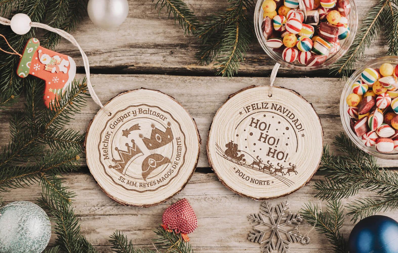 Rodaja de madera colgador Reyes Magos y Papá Noel