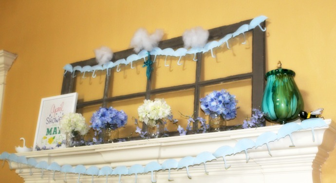 April Showers Bring May Flowers Mantel