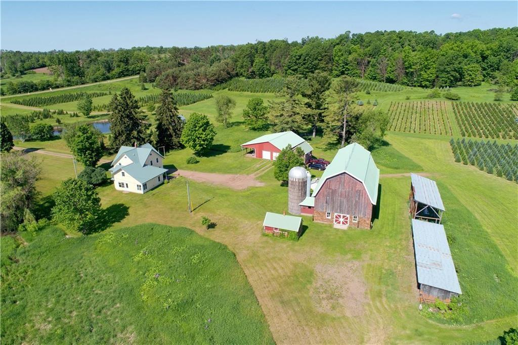 c.1920 Christmas Tree Farm For Sale W/Barn/Silo/Sheds And River on 47 Acres    Almena WI    $799,000