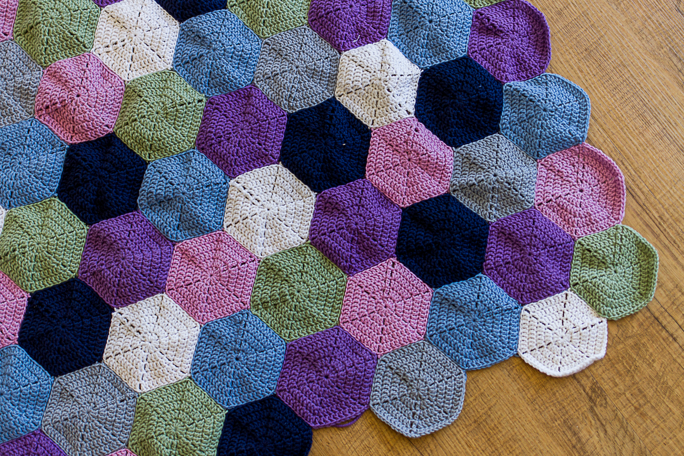 A Hexagon Rug And My Trick For Blocking Crochet Hexagons Country