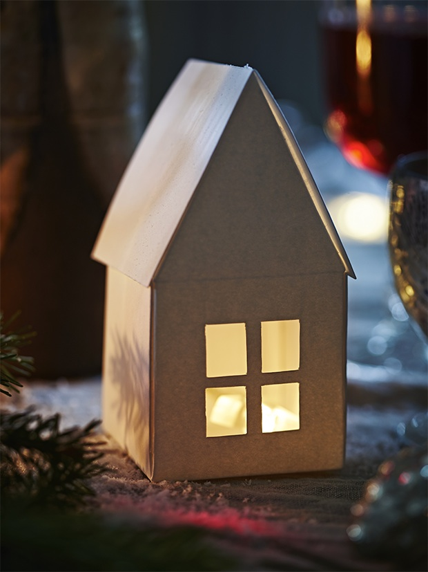 Christmas Craft Light Up Paper House Template