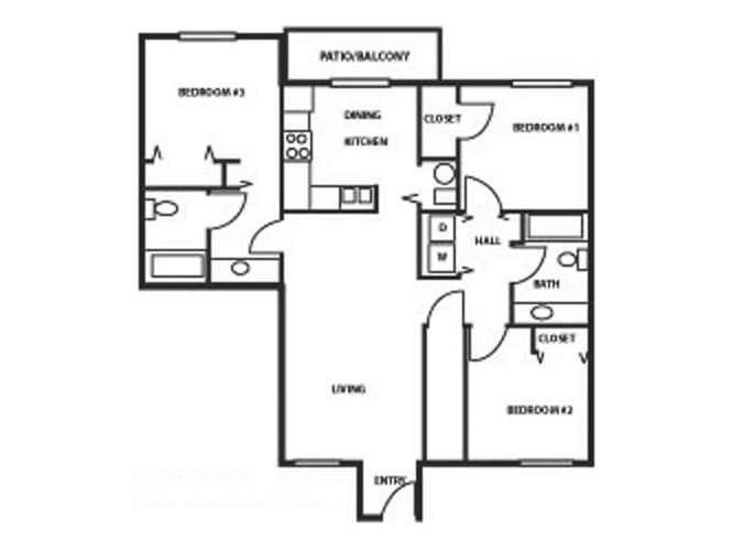 Country Meadow 3 Bedroom, 2 Bath Floorplan