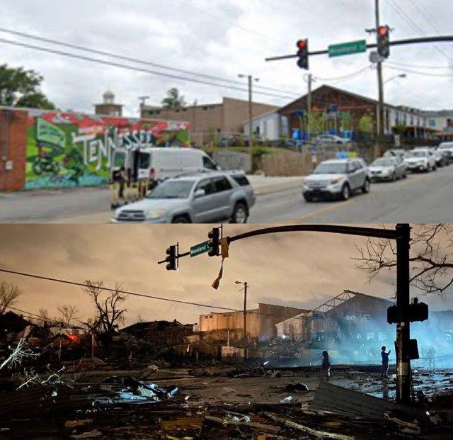 Nashville Tornado Before and After