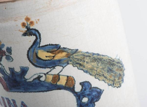 Deft drug jar with lid Closeup Peacock