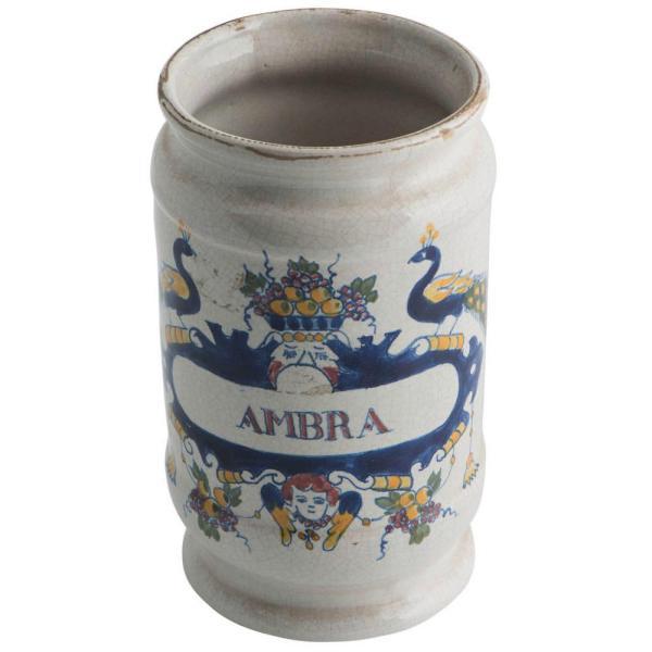 Decorated drug jar c.1780 Front Facing AMBRA Logo