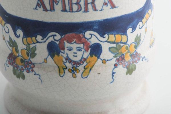 Decorated drug jar c.1780 Closeup Face
