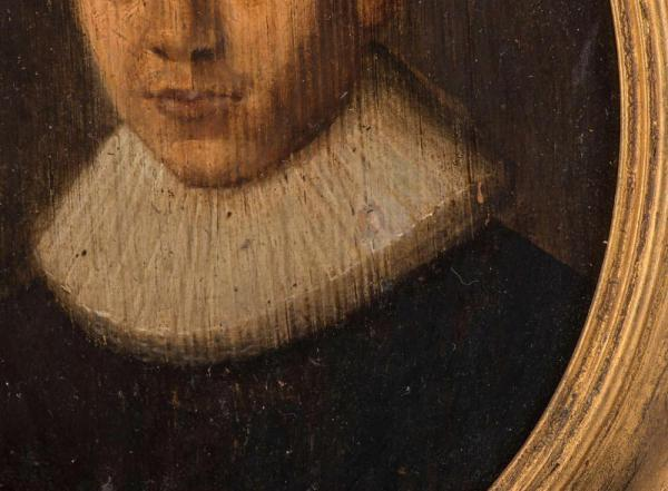Oil on panel, Continental c.1620 Closeup Painting