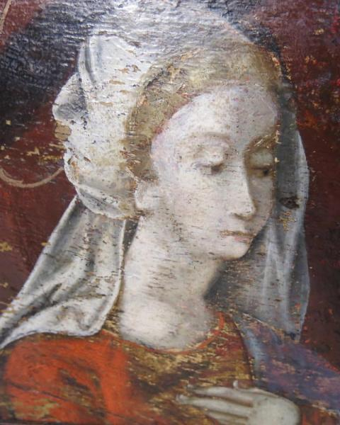 Pair of early panel paintings Continental, c. 1500 Closeup Face