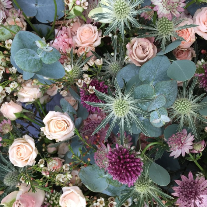 Alliums, thistles, Jana roses, Cotswold wedding flowers