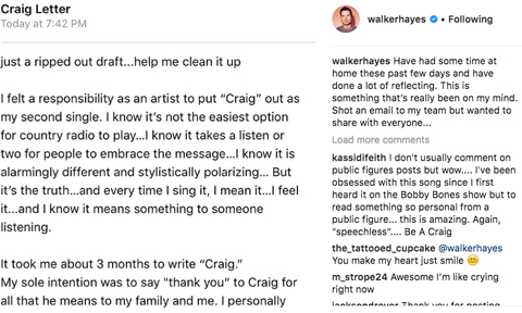 Walker Hayes Craig Letter via Instagram