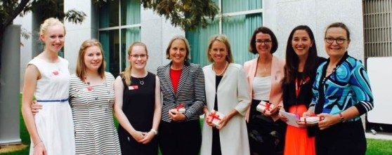 Hannah meeting some inspiring and impressive Senators during Country to Canberra's 2014 Power Trip.
