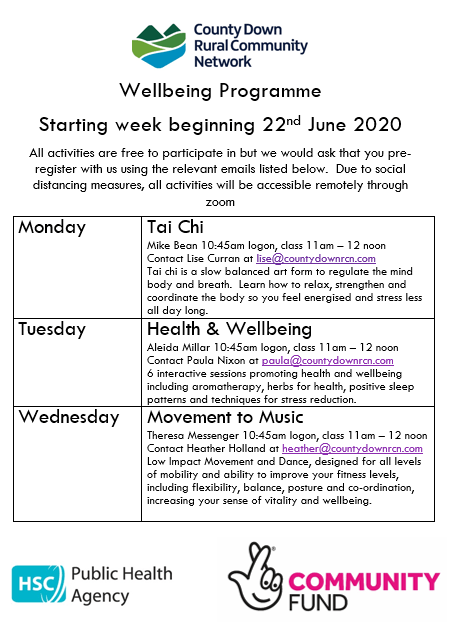 CDRCN Wellbeing Programme – starting 22nd June 2020