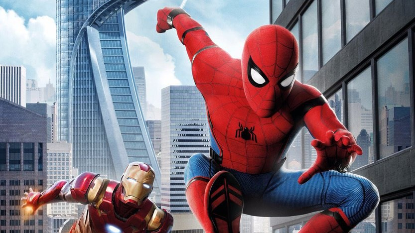 Spider-Man and Iron Man travelling through New York, from the Spider-Man Homecoming Poster