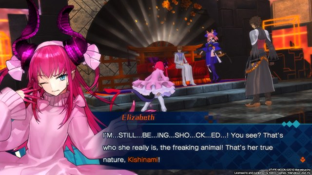 Elizabeth Bathory being shocked by Tamamo no Mai.