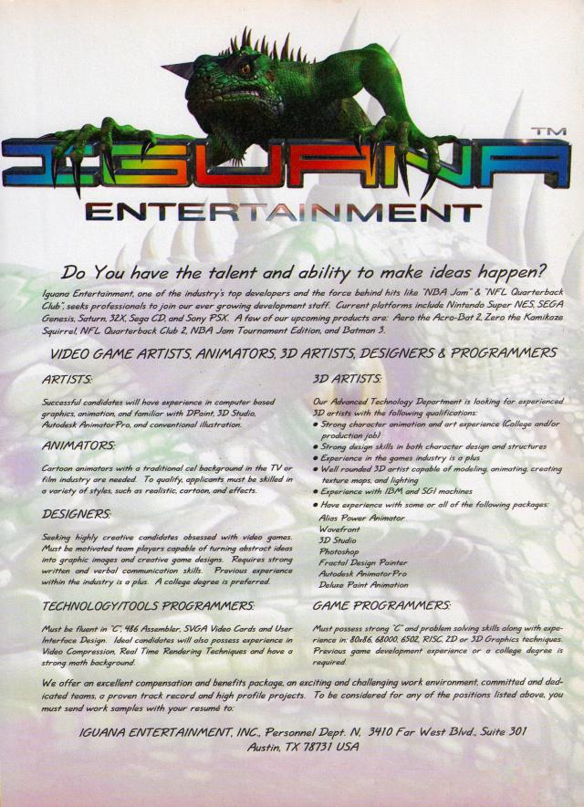 Job listing for Iguana Entertainment