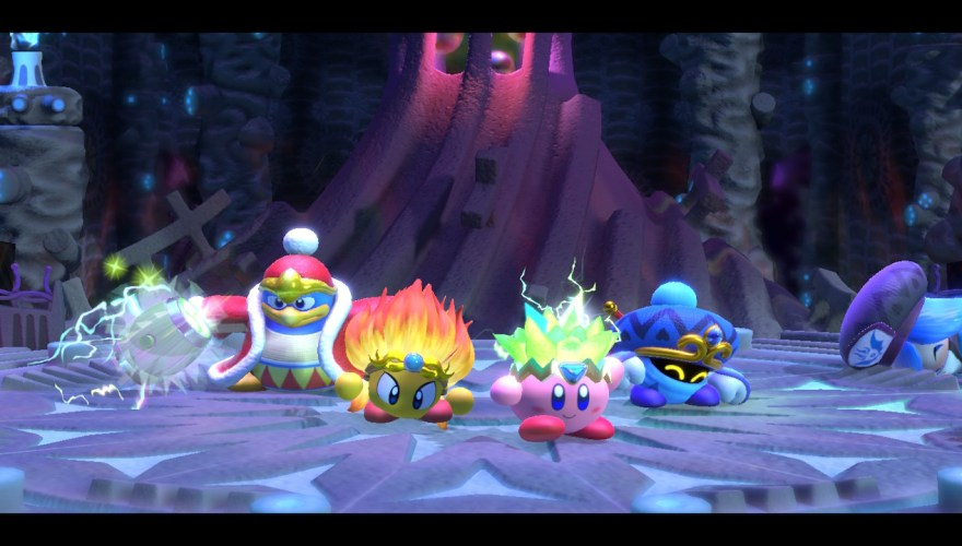 Kirby and friends celebrating.