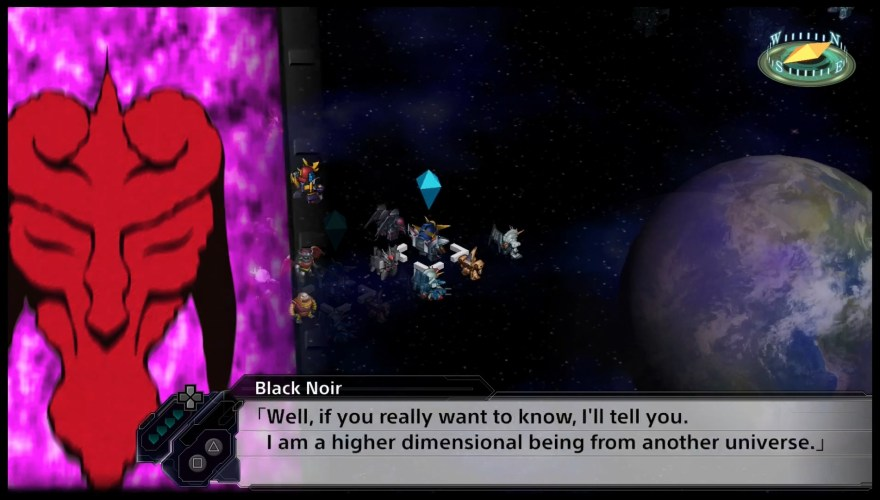 Black Noir taunts Earth Fleet Tenku