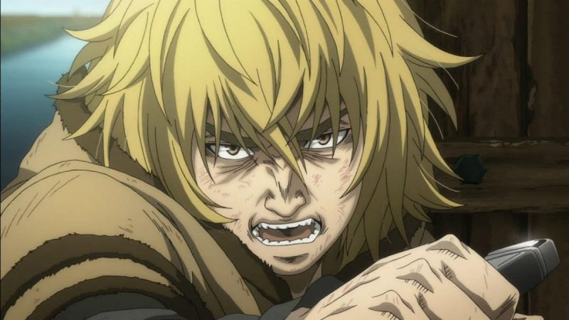 Thorfinn holding his knife angrily.