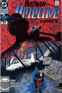 Cover of Detective Comics #618, showing the Obeah Man looming over the Drake's wrecked plane,  and Batman and Alfred comforting Tim Drake.