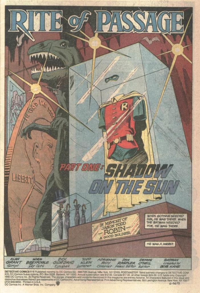 Page 1 of Detective Comics 618, featuring Jason todd's costume on display.