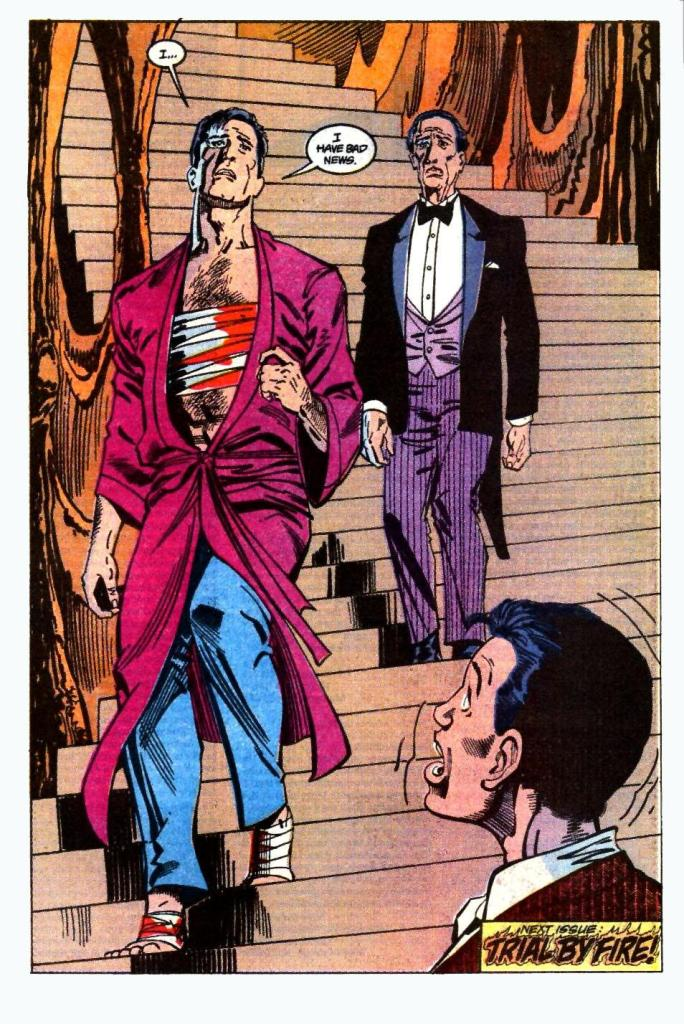 Bruce Wayne and Alfred walk down the stairs, with Bruce bandaged and bloody.
