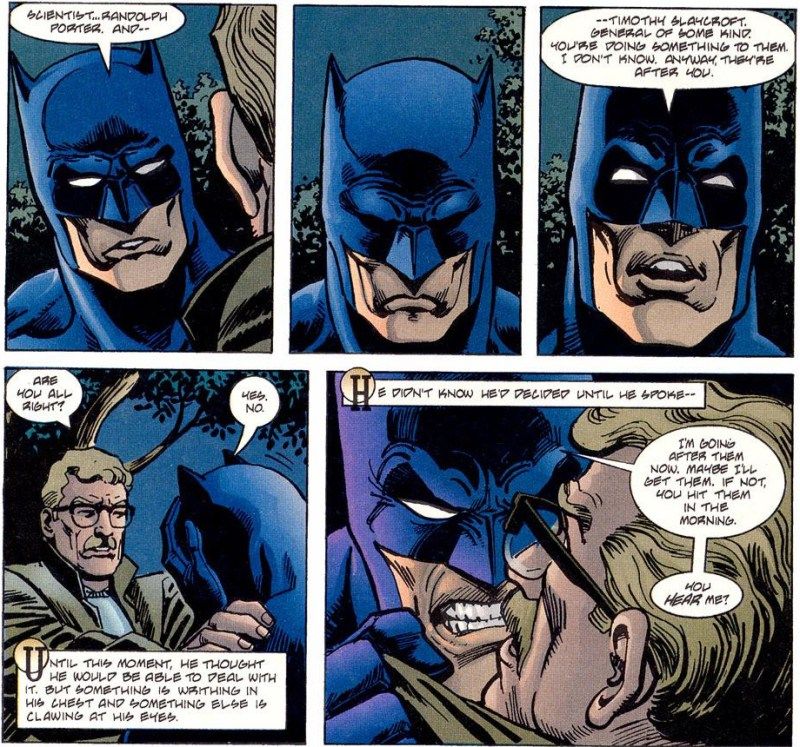 Batman struggles to tell Gordon about Porter and Slaycroft.