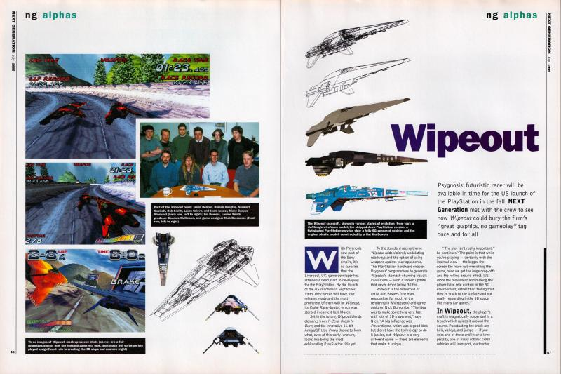 The first two pages of the article about Wipeout.