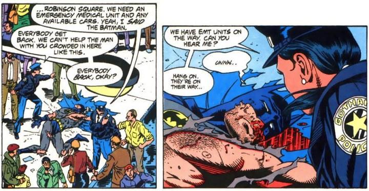 Montoya checks on Batman.