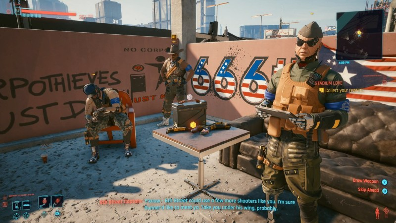 Screen shot of the 6th Street Gang from Cyberpunk 2077