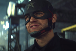Wyatt Russell as John Walker, in the Captain America costume, in Falcon and the Winter Soldier