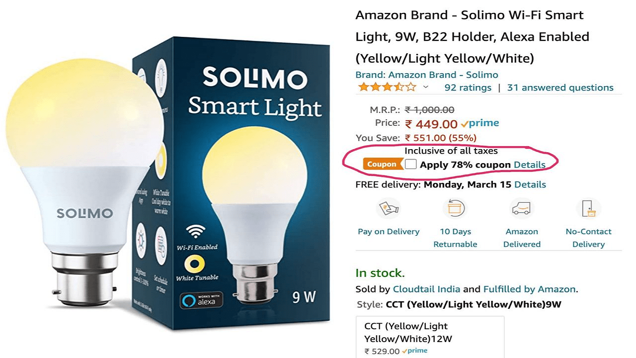 Amazon Solimo Wi-Fi Smart Bulb Coupon Code Flat ₹398 OFF @ Get ₹98