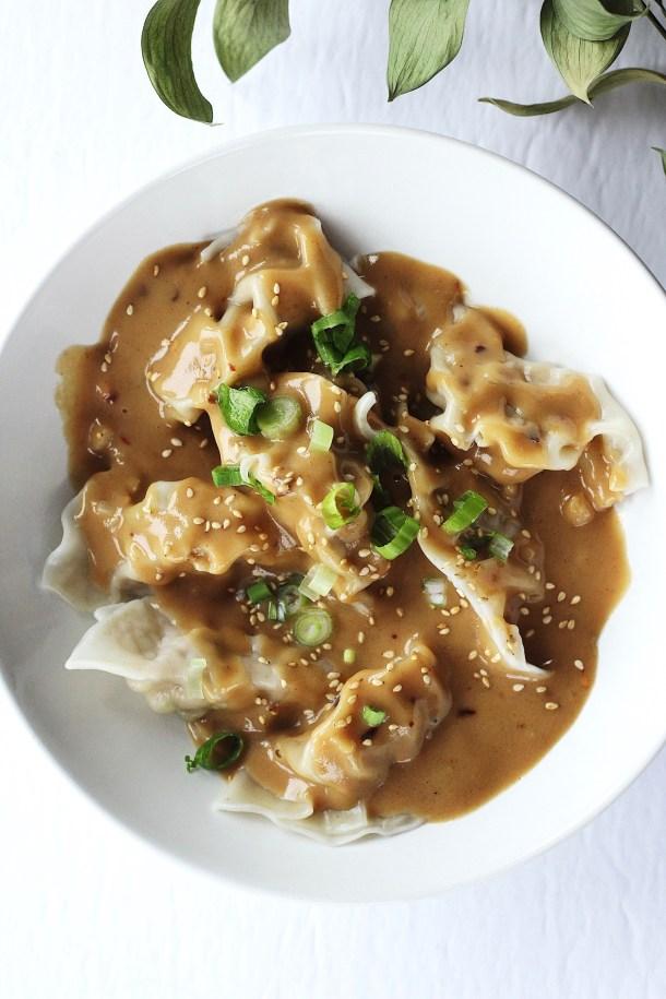 Pork Dumplings with Spicy Peanut Sauce 2