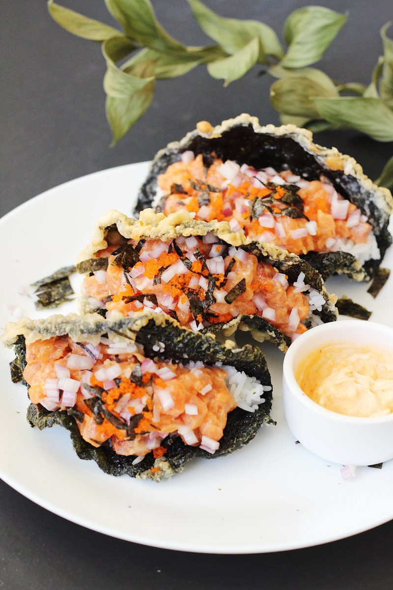 Sushi Tacos with Crispy Fried Seaweed Shells - Couple Eats ...