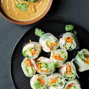 Vietnamese Spring Roll with Peanut Dipping Sauce