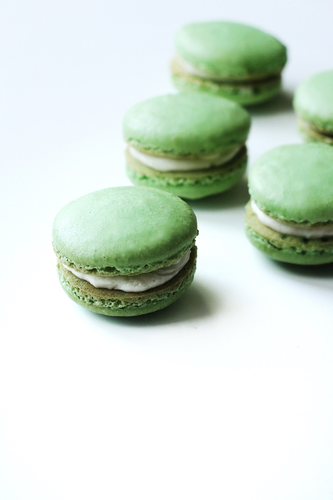 Pandan French Macarons with Coconut Buttercream Filling