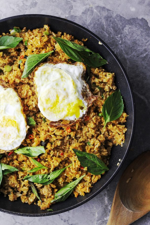 Spicy Tom Yum Fried Rice with Thai Basil Recipe