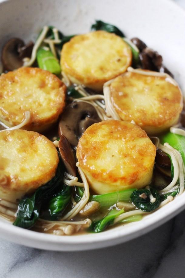 Egg Tofu with Mushroom Gravy Sauce