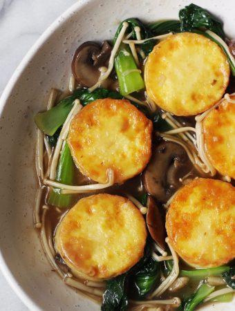 Egg Tofu with Mushroom Gravy Sauce Recipe